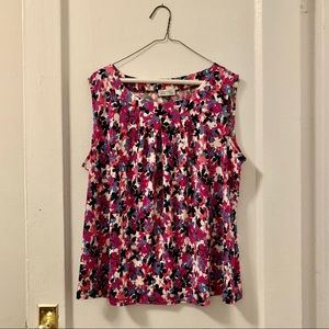 Tahari floral sleeveless top